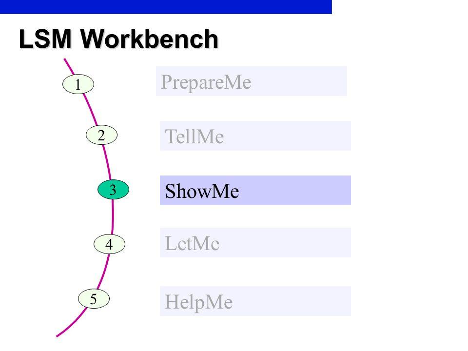 LSM Workbench PrepareMe 1 TellMe 2 ShowMe 3 LetMe 4 5 HelpMe