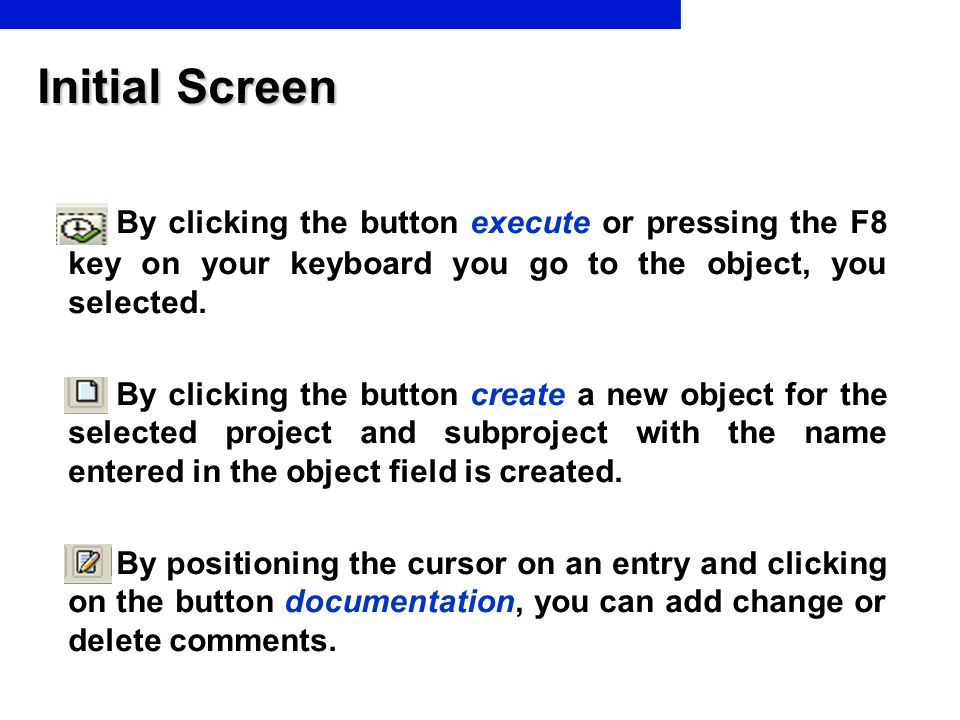 Initial Screen By clicking the button execute or pressing the F8 key on your keyboard you go to the object, you selected.