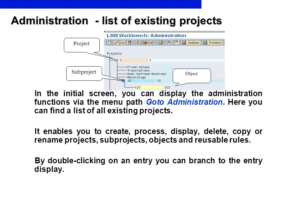 Administration - list of existing projects