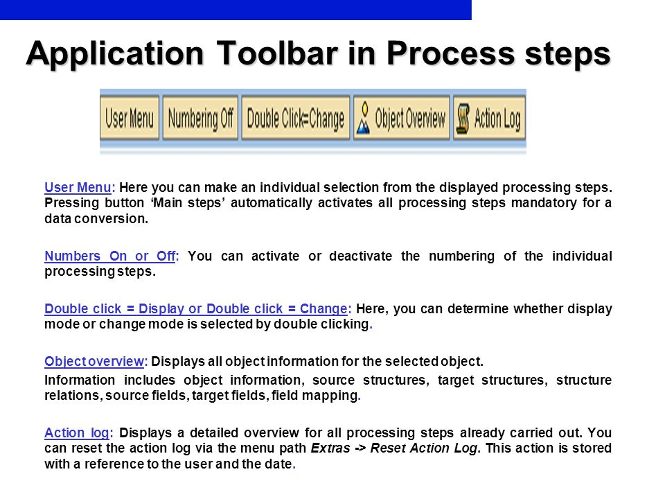 Application Toolbar in Process steps