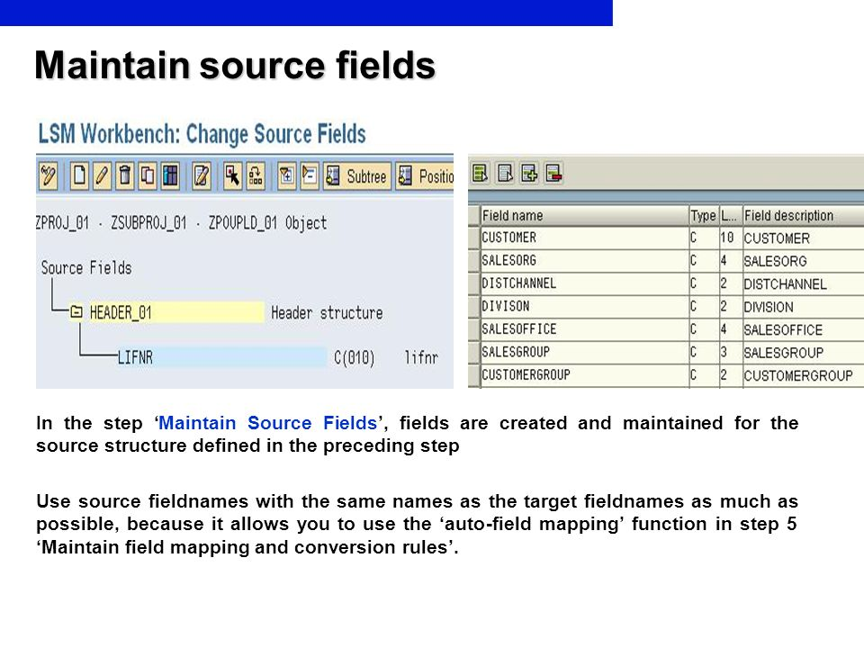 Maintain source fields