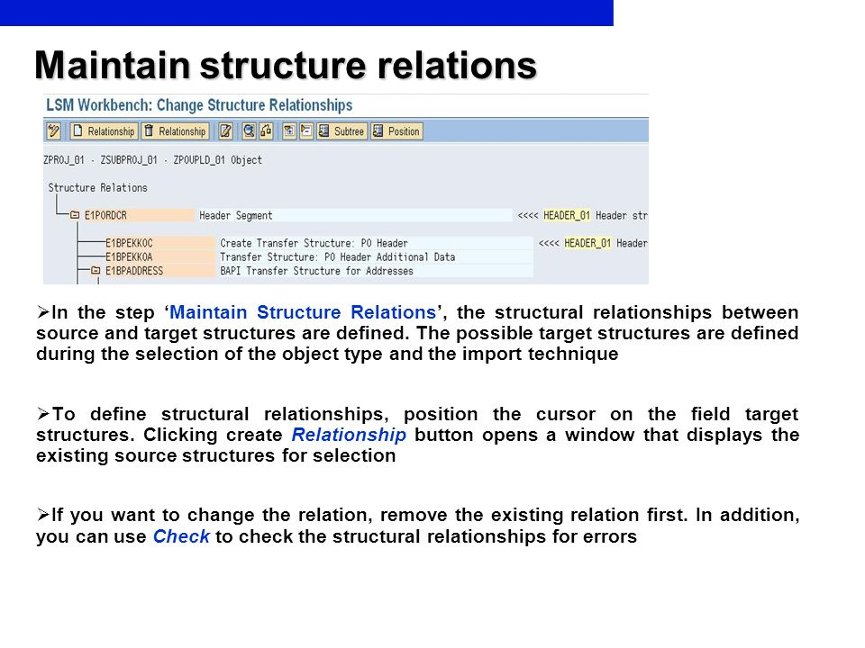 Maintain structure relations