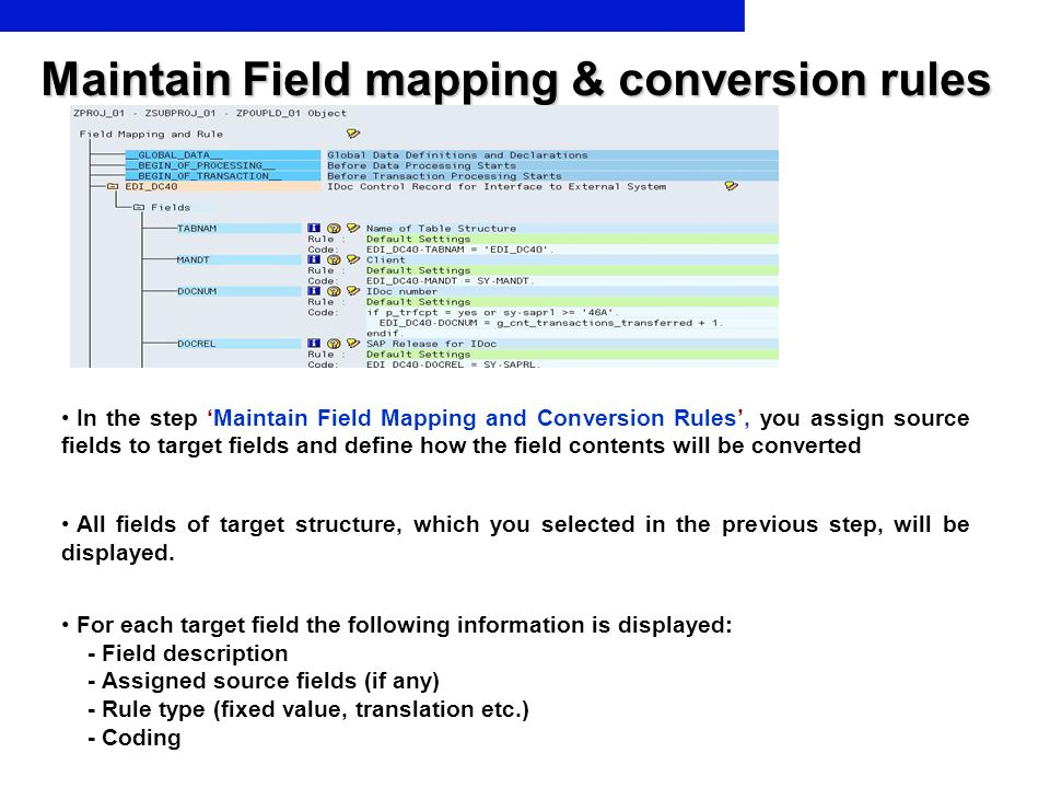 Maintain Field mapping & conversion rules