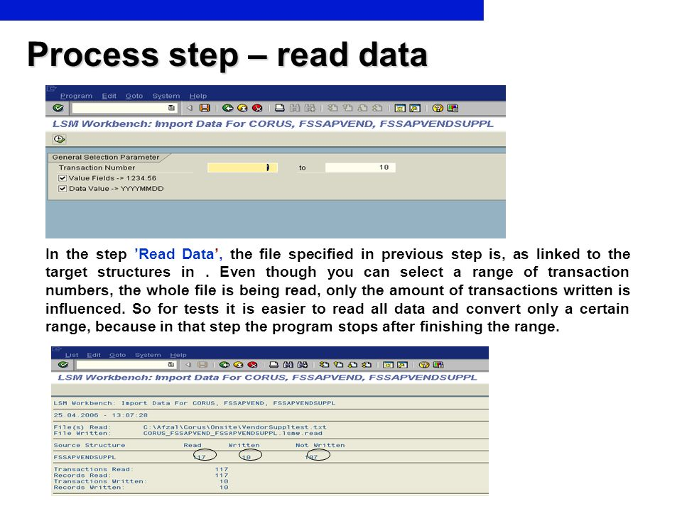 Process step – read data