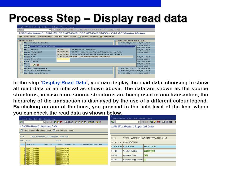 Process Step – Display read data