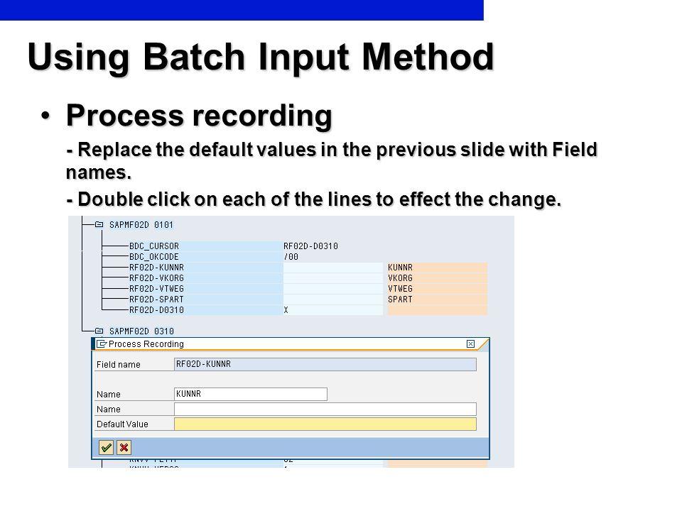 Using Batch Input Method