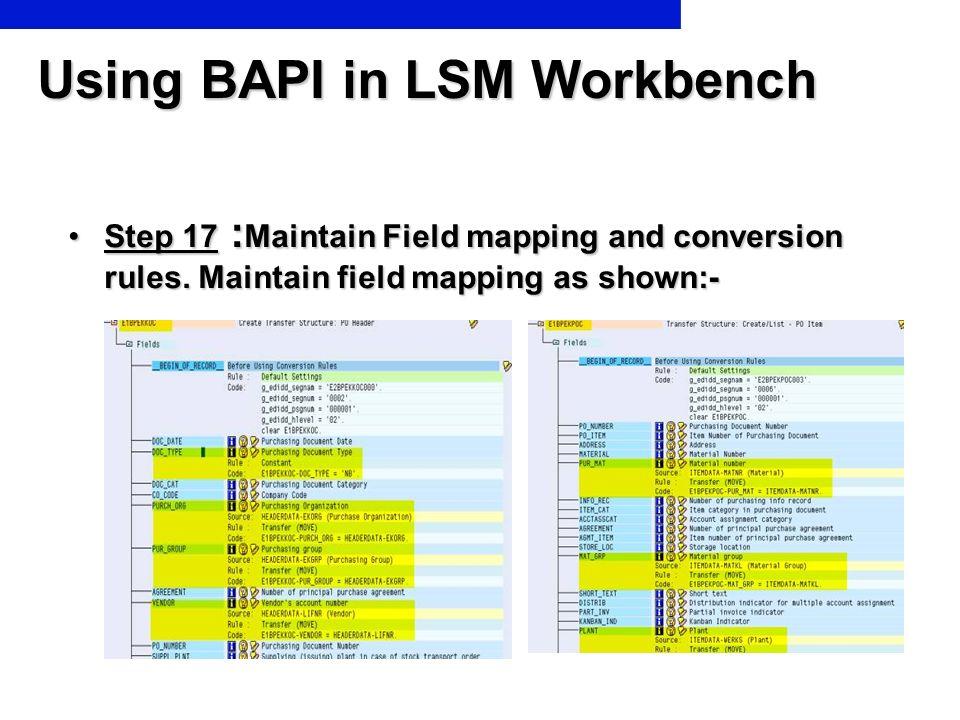 Using BAPI in LSM Workbench