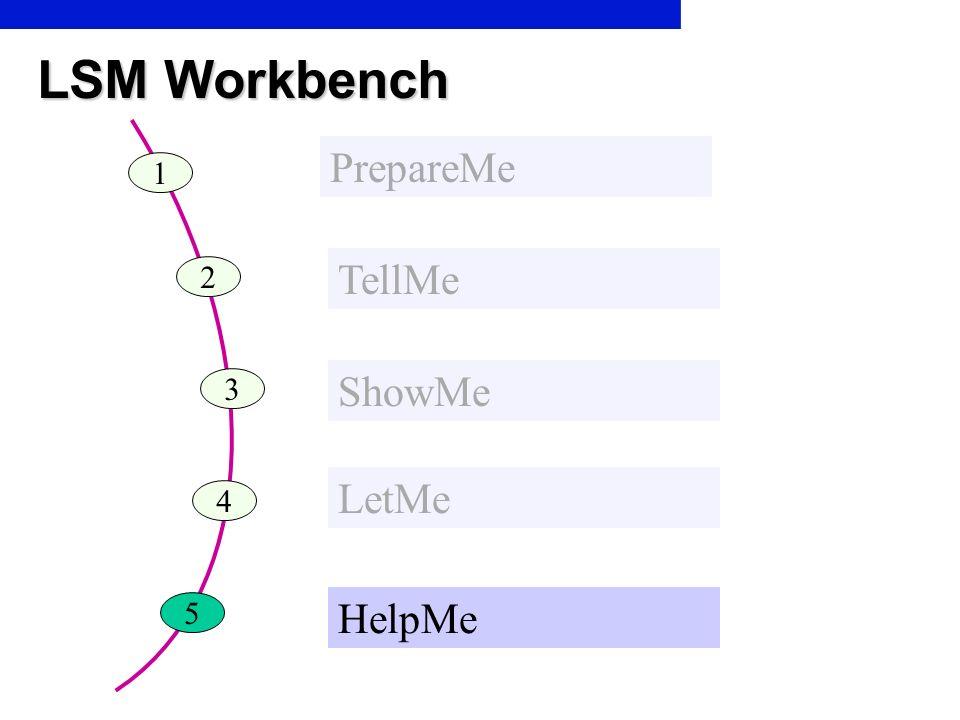 LSM Workbench PrepareMe 1 TellMe 2 ShowMe 3 LetMe 4 5 HelpMe
