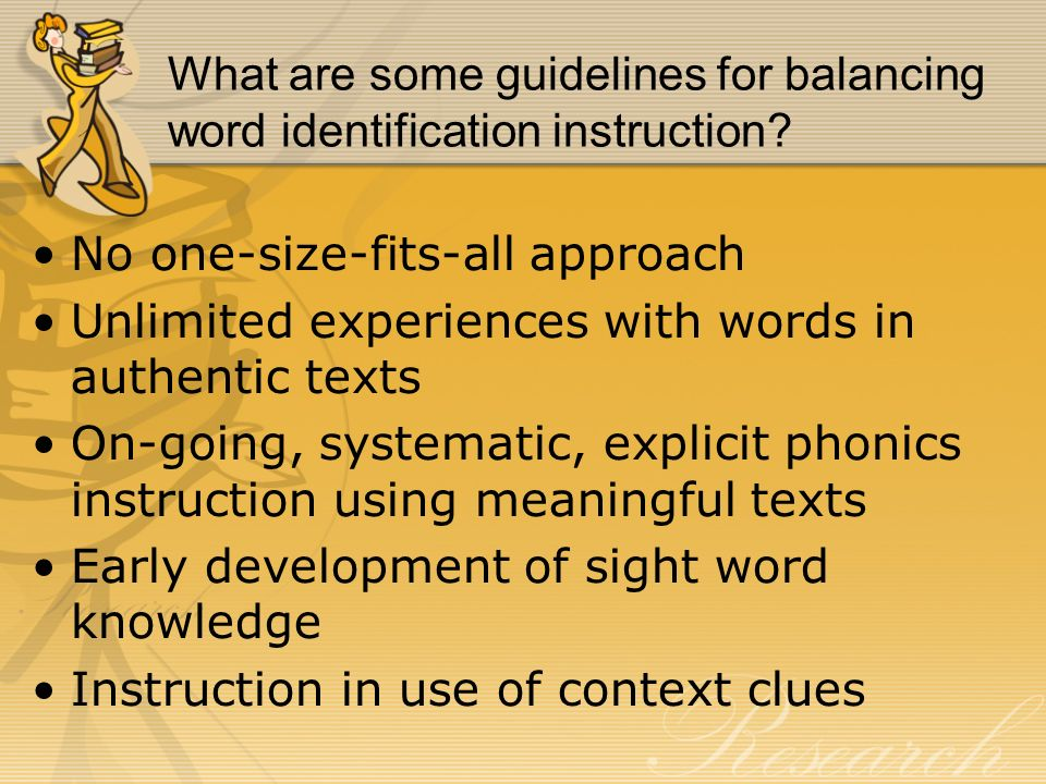 What are some guidelines for balancing word identification instruction