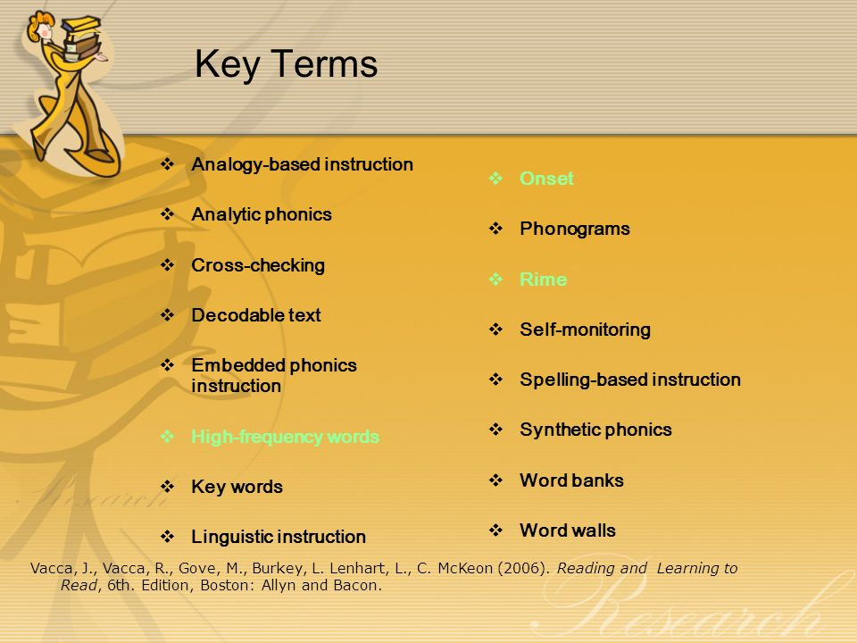 Key Terms Analogy-based instruction Onset Analytic phonics Phonograms
