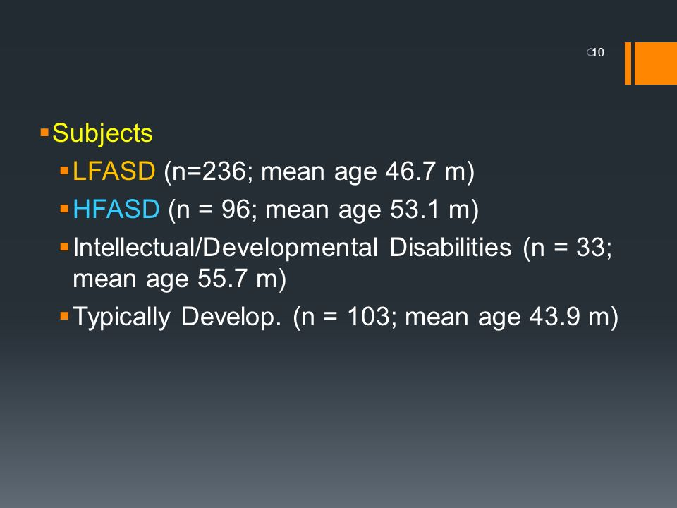 Subjects LFASD (n=236; mean age 46.7 m) HFASD (n = 96; mean age 53.1 m) Intellectual/Developmental Disabilities (n = 33; mean age 55.7 m)