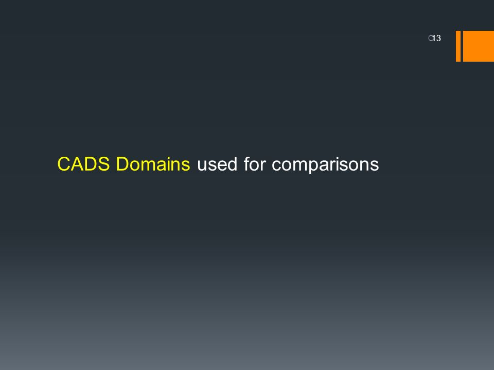 CADS Domains used for comparisons