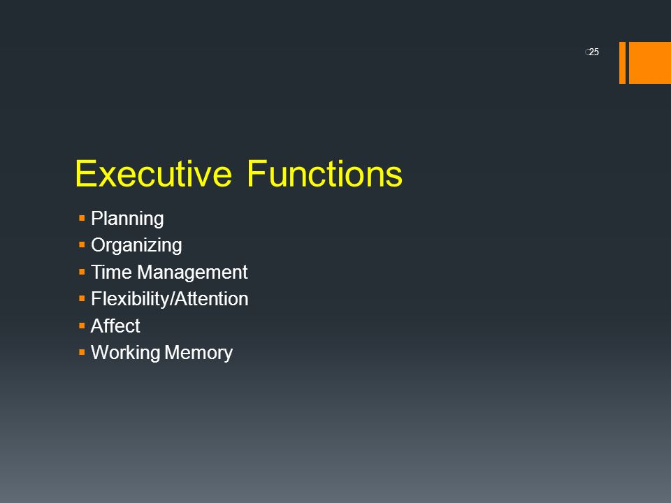 Executive Functions Planning Organizing Time Management
