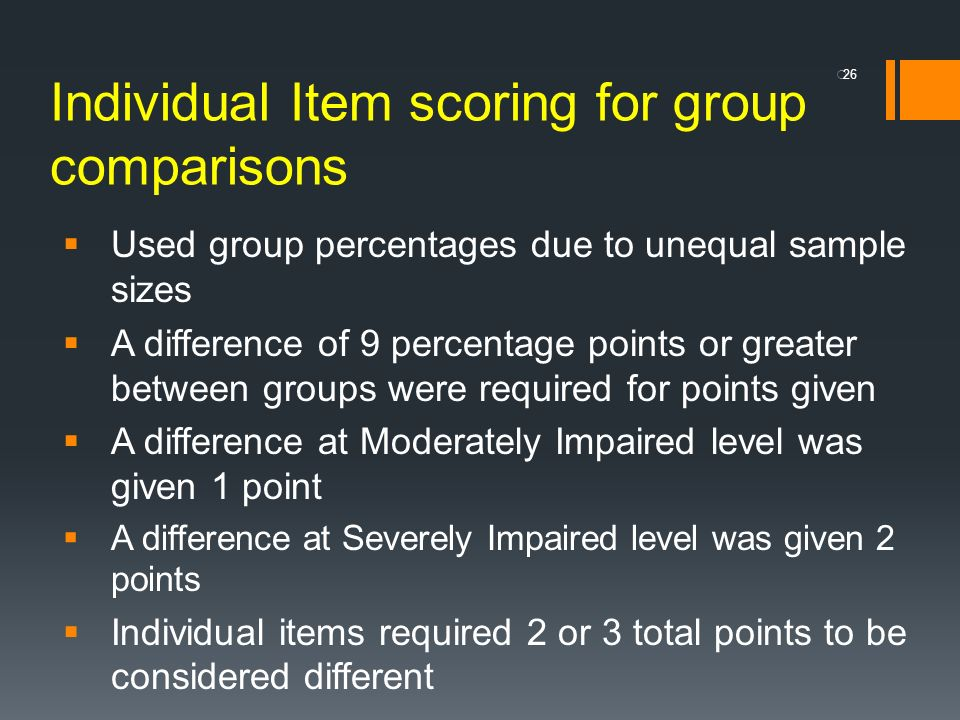 Individual Item scoring for group comparisons