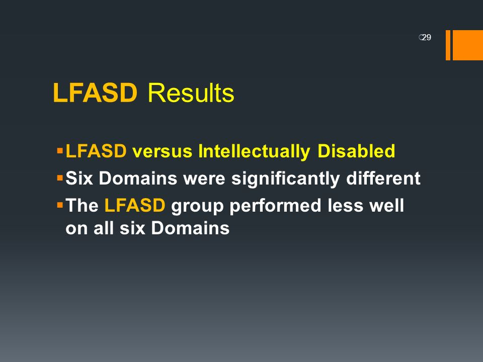 LFASD Results LFASD versus Intellectually Disabled