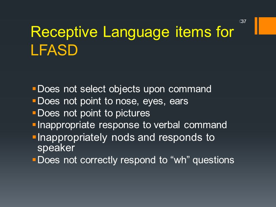 Receptive Language items for LFASD