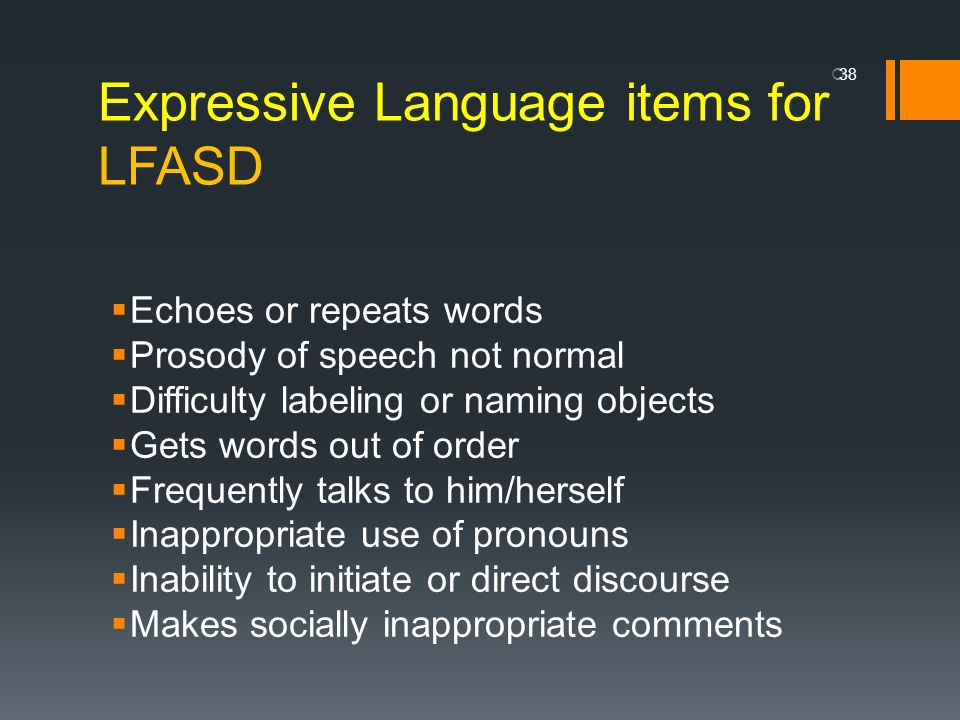 Expressive Language items for LFASD