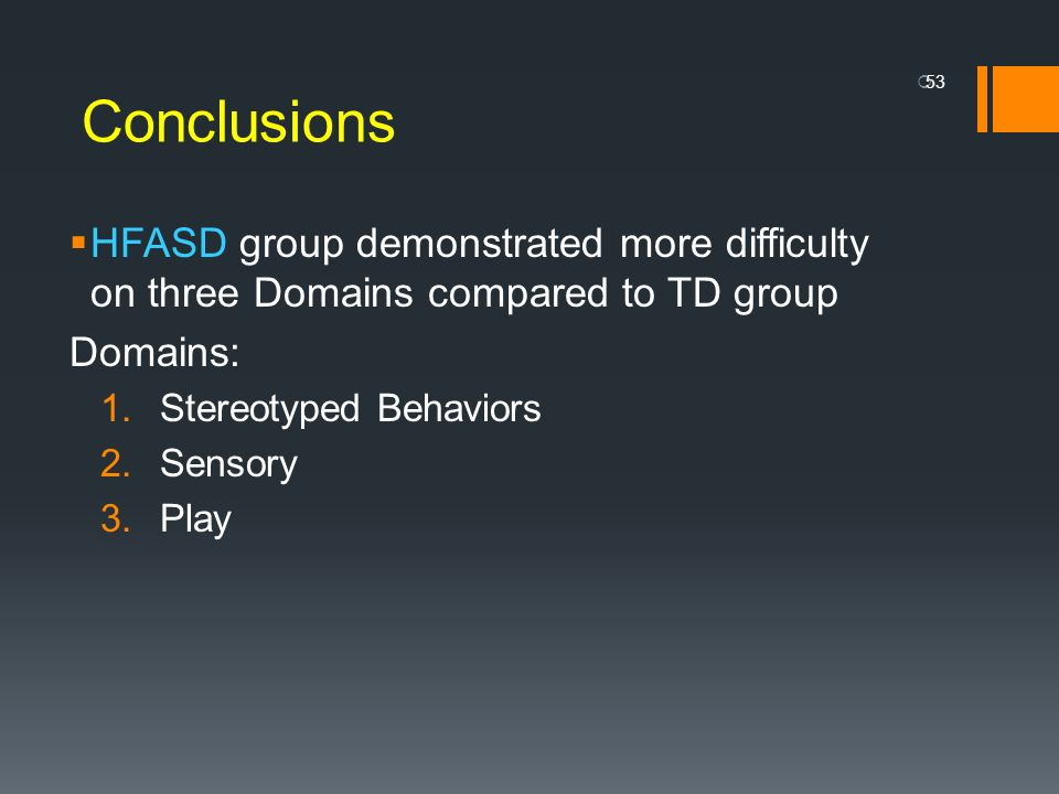 Conclusions HFASD group demonstrated more difficulty on three Domains compared to TD group. Domains: