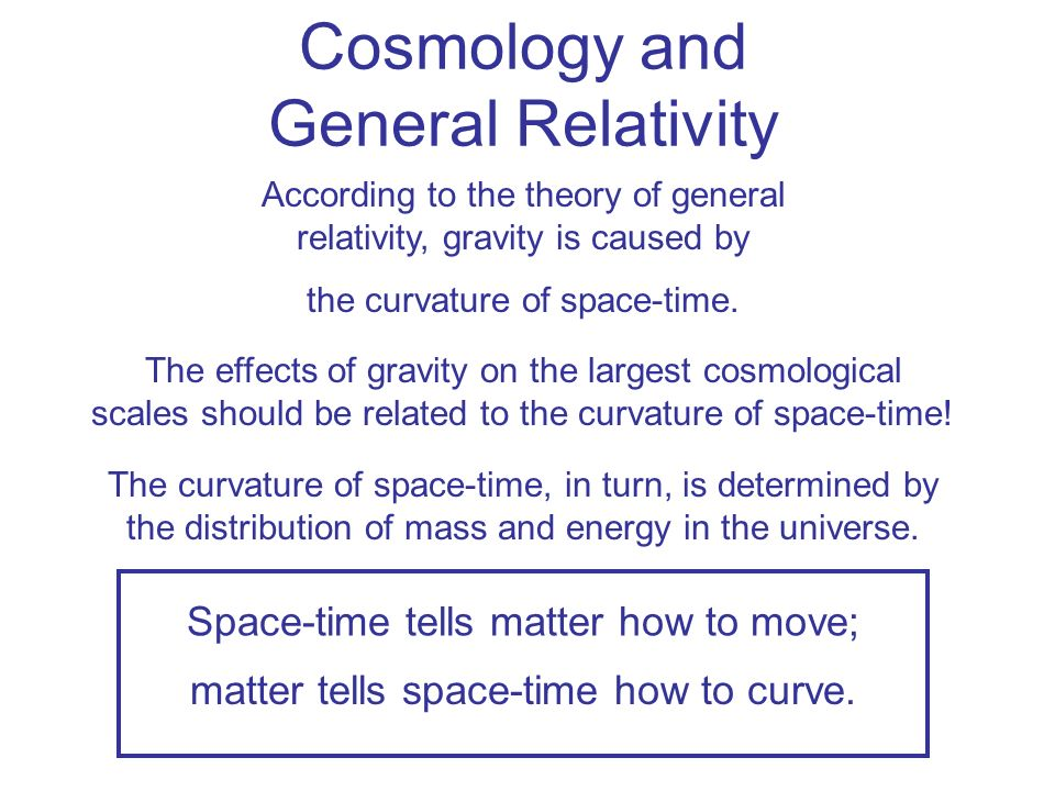 Cosmology and General Relativity