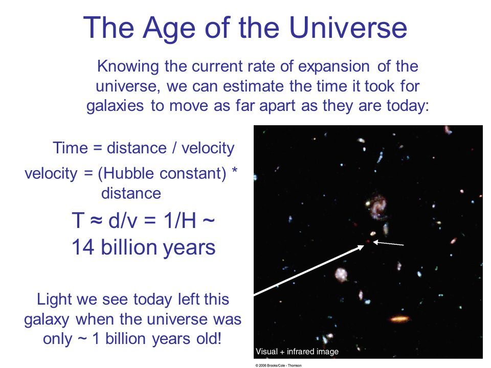 The Age of the Universe T ≈ d/v = 1/H ~ 14 billion years