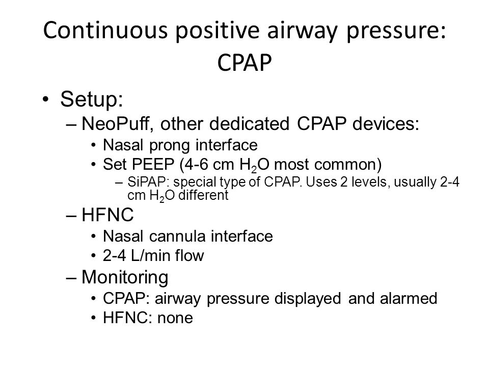 Continuous positive airway pressure: CPAP