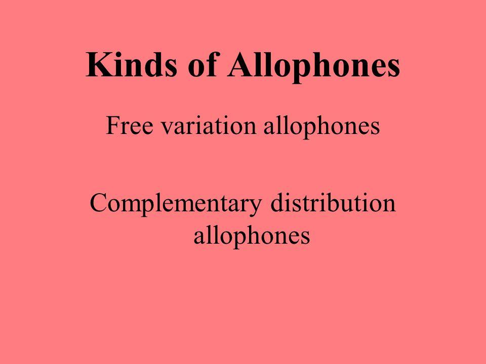 Kinds of Allophones Free variation allophones