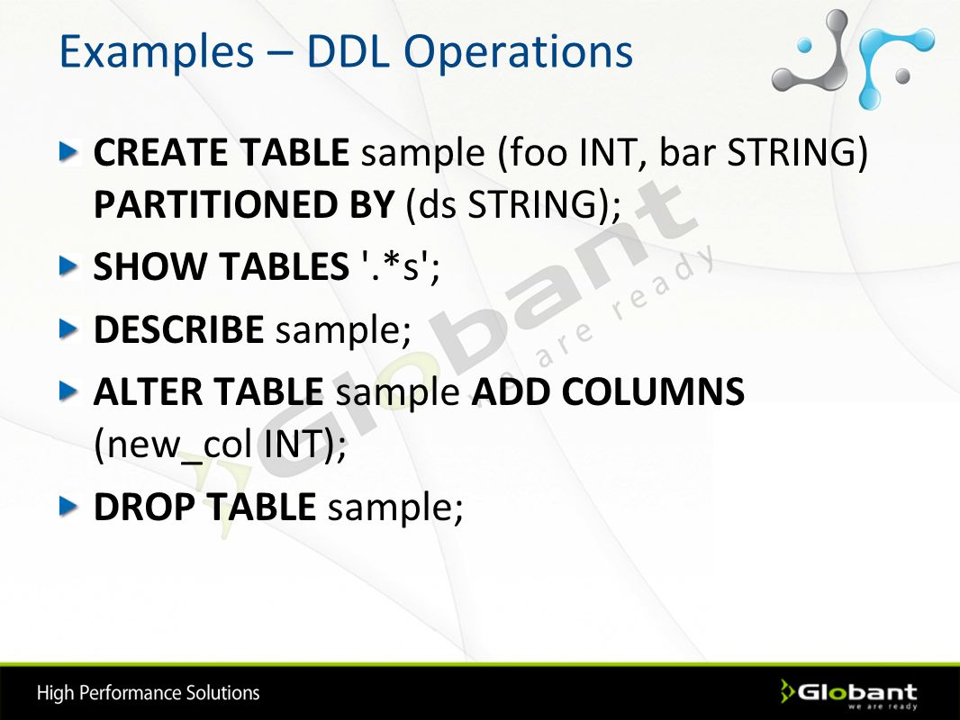Examples – DDL Operations