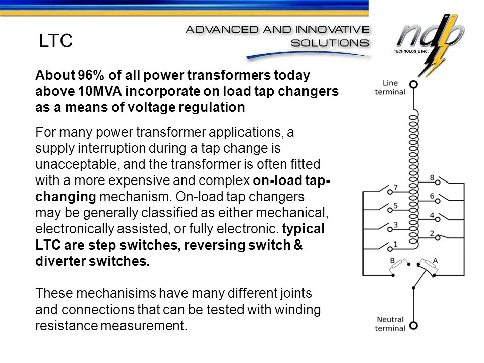 LTC About 96% of all power transformers today above 10MVA incorporate on load tap changers as a means of voltage regulation.