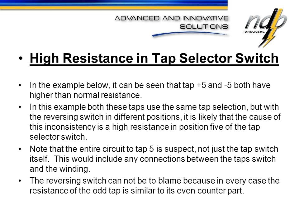 High Resistance in Tap Selector Switch