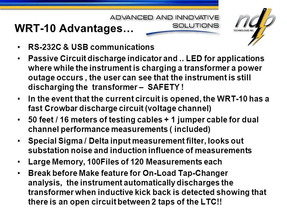 WRT-10 Advantages… RS-232C & USB communications