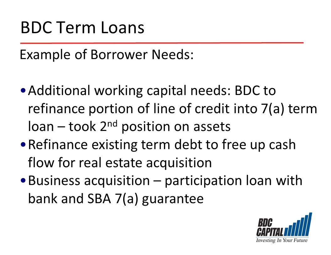 BDC Term Loans Example of Borrower Needs: