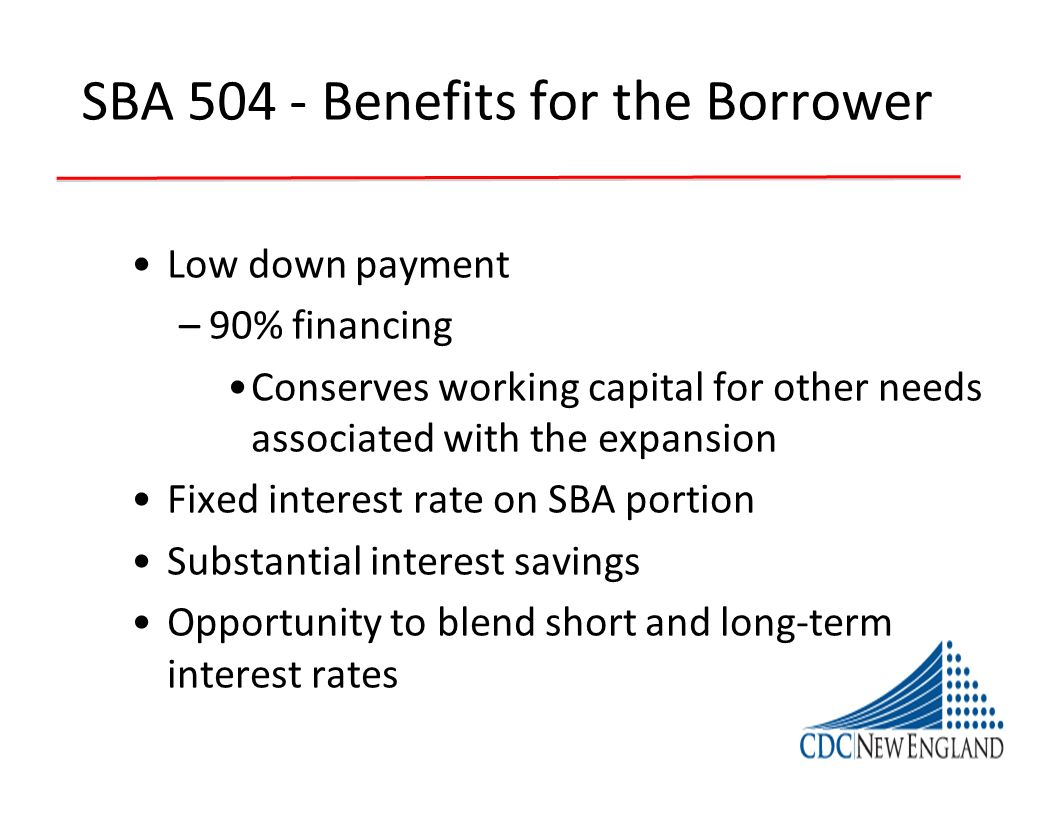 SBA 504 - Benefits for the Borrower