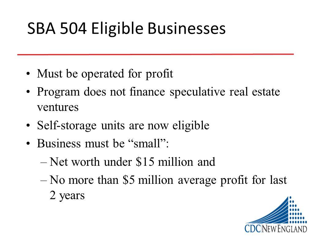 SBA 504 Eligible Businesses