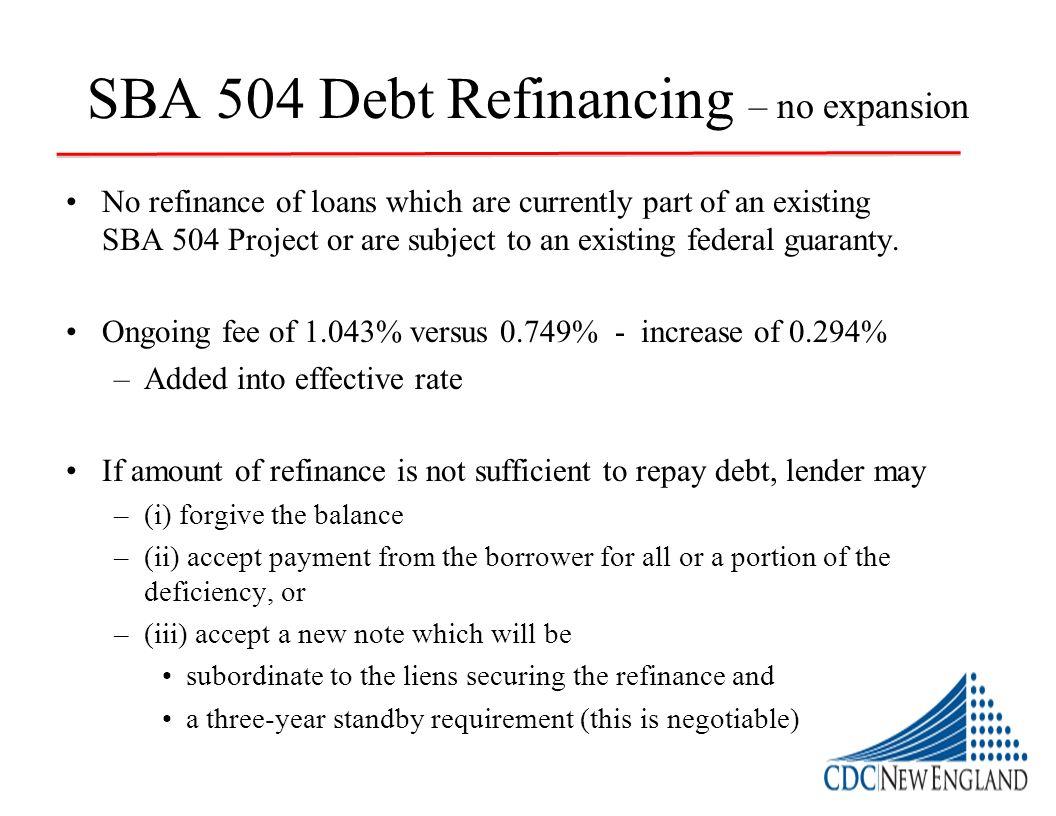 SBA 504 Debt Refinancing – no expansion