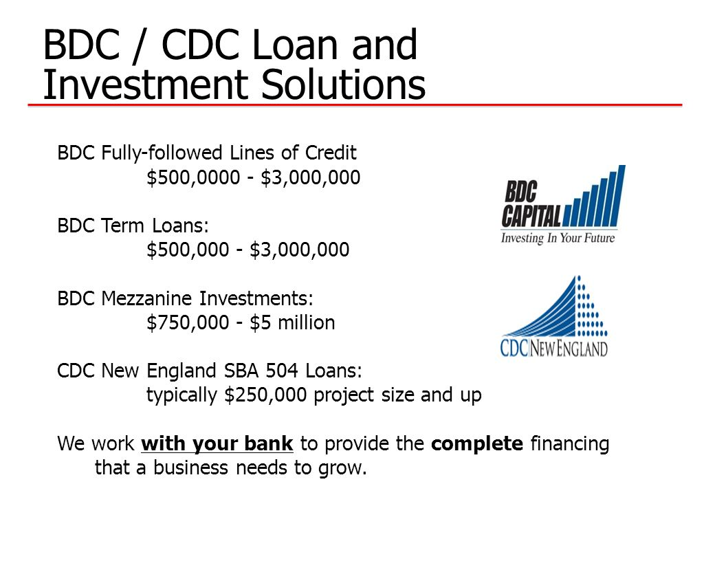 BDC / CDC Loan and Investment Solutions