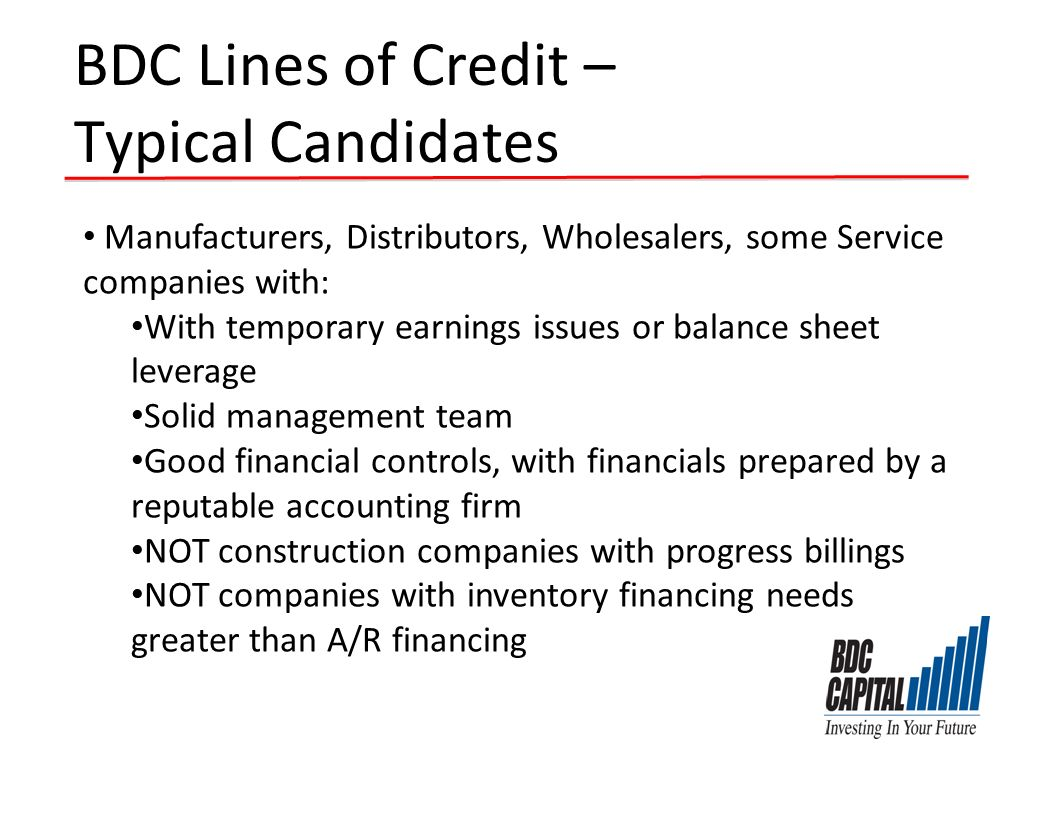 BDC Lines of Credit – Typical Candidates