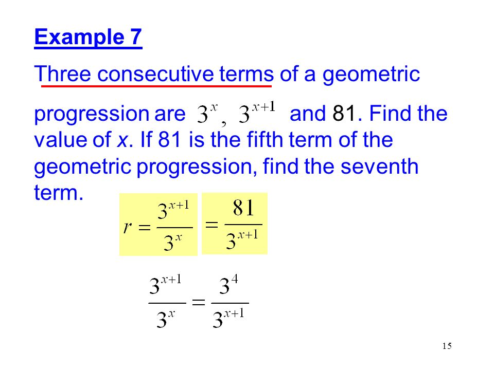 Example 7 Three consecutive terms of a geometric.