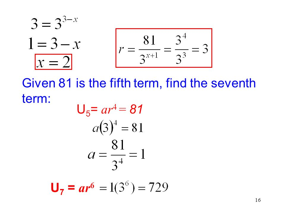 Given 81 is the fifth term, find the seventh term: