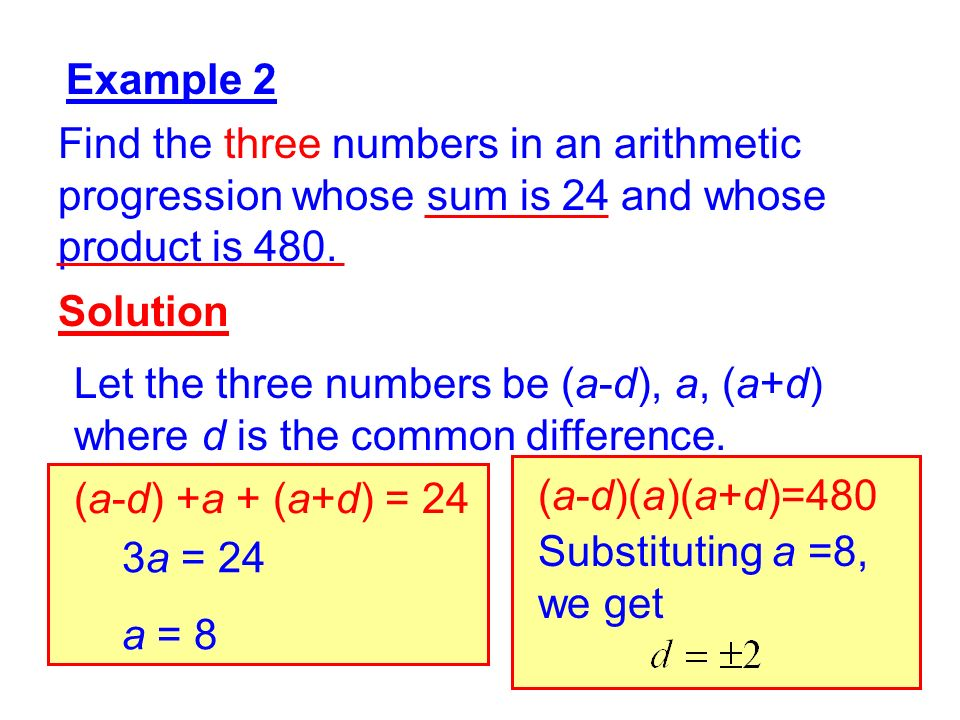 Example 2 Find the three numbers in an arithmetic progression whose sum is 24 and whose product is 480.