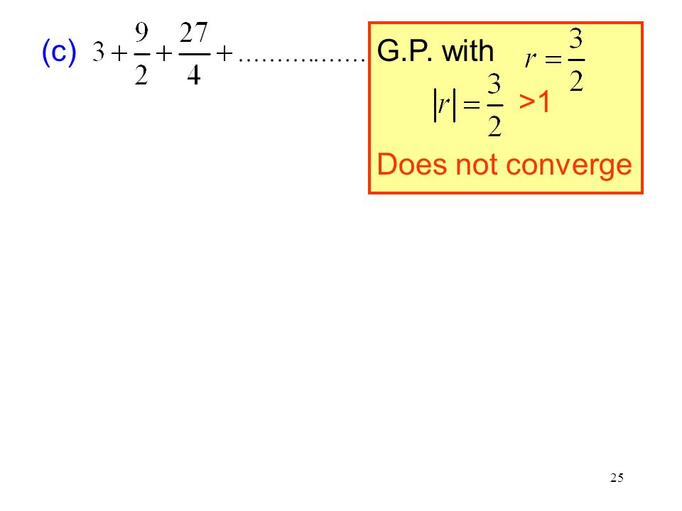 G.P. with (c) >1 Does not converge