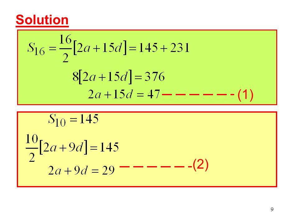 Solution (1) (2)