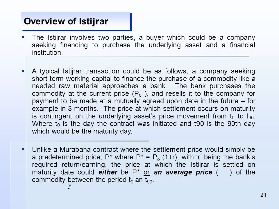 Overview of Istijrar