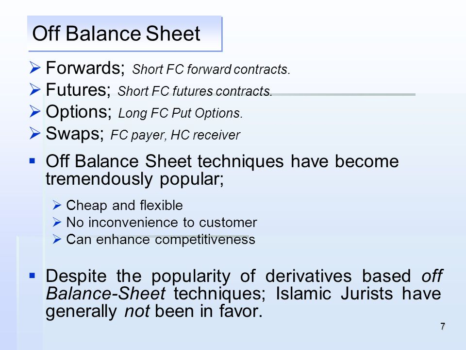 Off Balance Sheet Forwards; Short FC forward contracts.