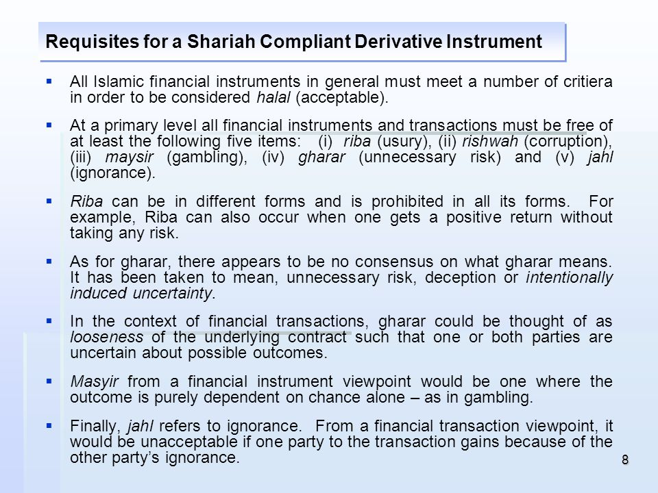 Requisites for a Shariah Compliant Derivative Instrument