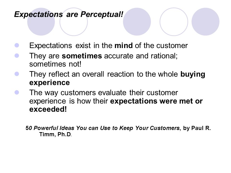 Expectations are Perceptual!