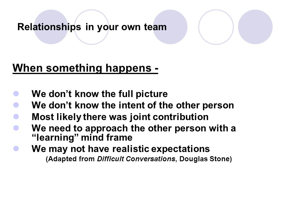 Relationships in your own team