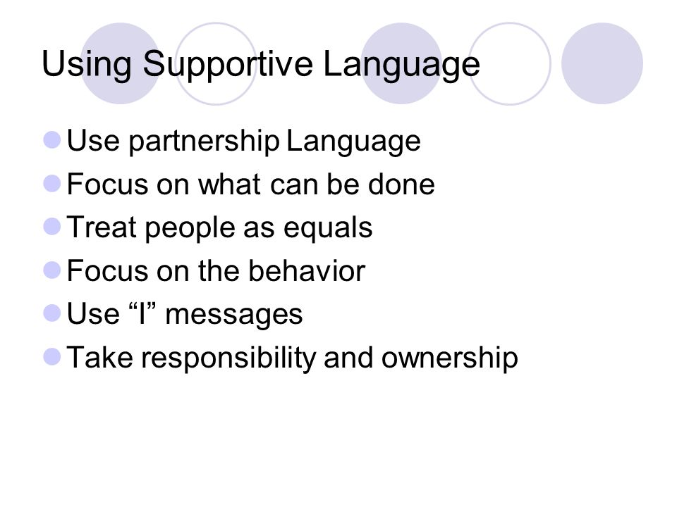 Using Supportive Language