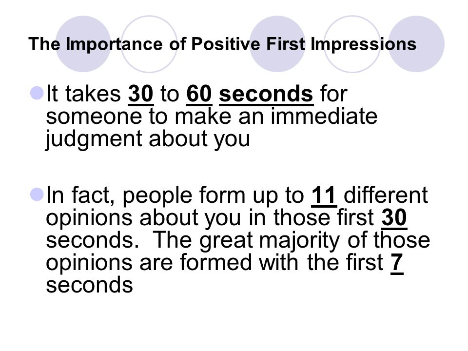 The Importance of Positive First Impressions