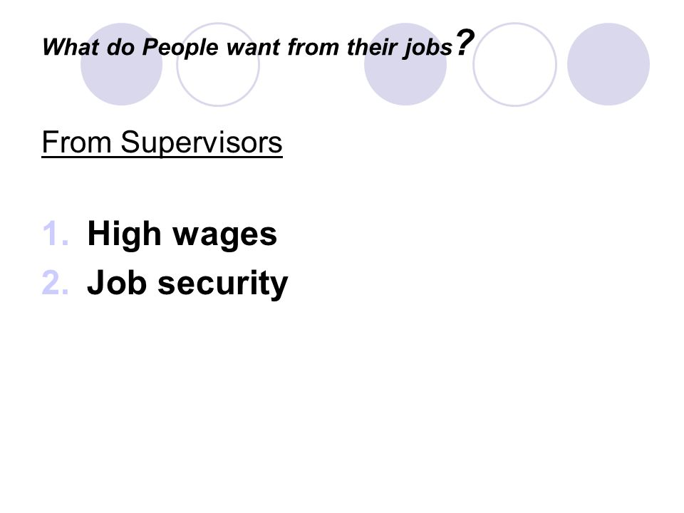 What do People want from their jobs