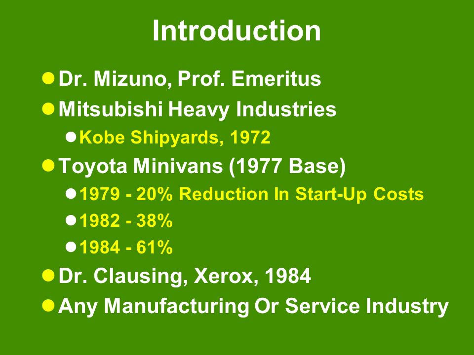 Introduction Dr. Mizuno, Prof. Emeritus Mitsubishi Heavy Industries